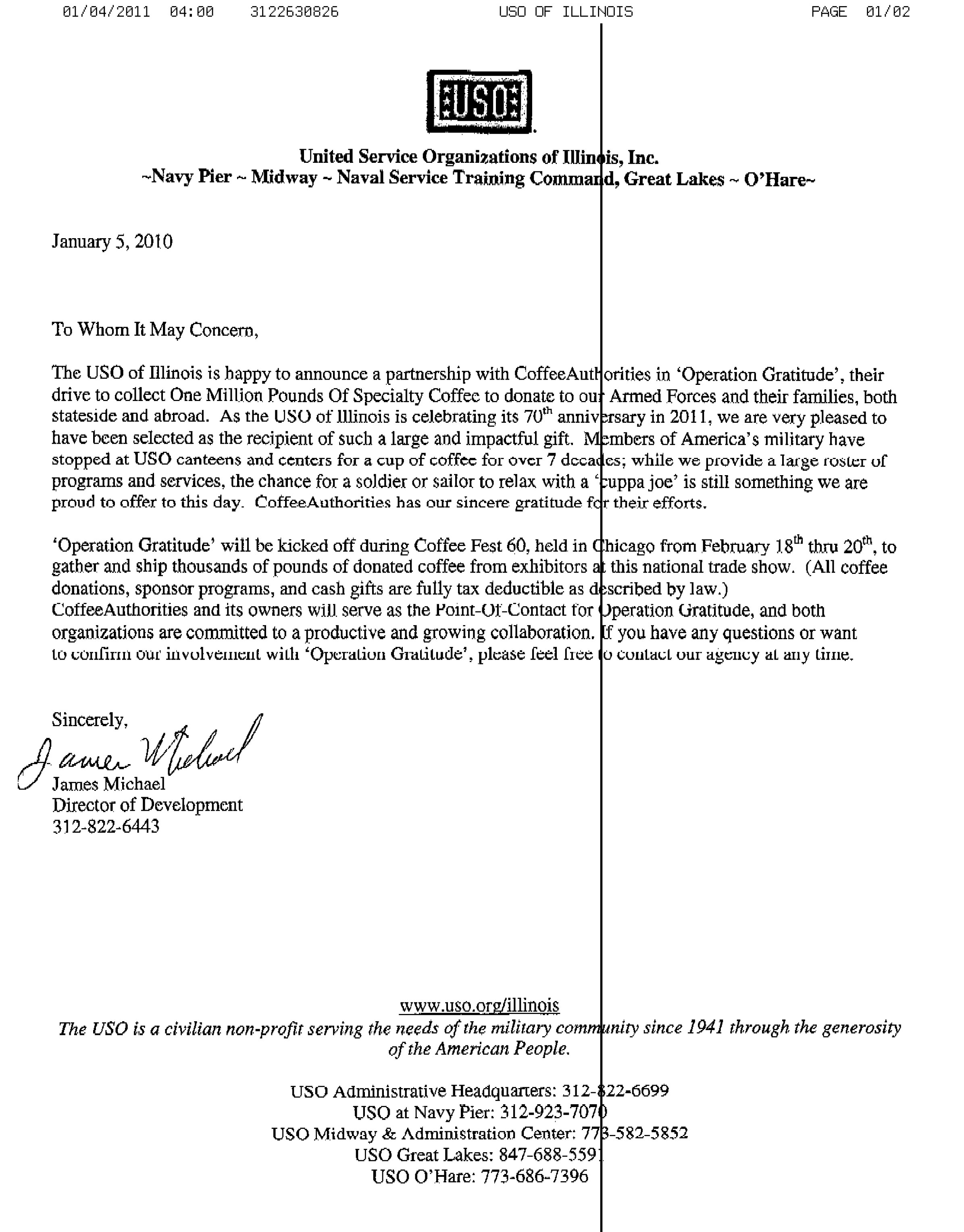 Coffeeauthorities official uso partnership letter to support our coffeeauthorities official uso partnership letter to support our efforts to collect one million pounds of coffee for our troops thecheapjerseys Choice Image